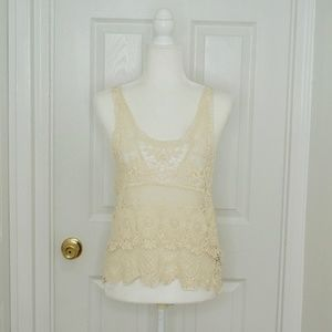 FOREVER 21 Lace/Crochet Festival Tank Top (M)
